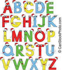 funny latin alphabet in santa caps