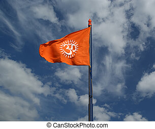 Flag with a sign Om or Aum --is a sacred, mystical syllable...