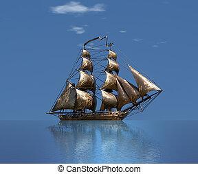 Sailing ship under full sail - Russian 18-gun brig Mercury...