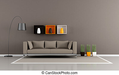 minimalist brown livingroom - Contemporary livingroom with...