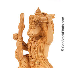Deity of Hanuman from India on white background