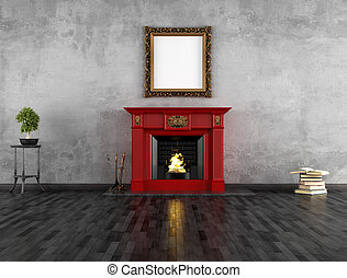 vintage room with fireplace - vintage room with red classic...