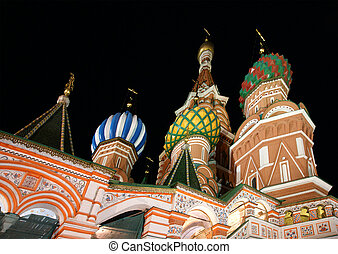 Moscow at night, Russia, Red Square, Cathedral of...