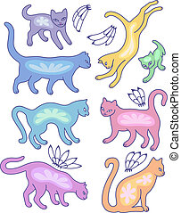 Eight cat silhouettes
