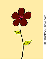 Daisy - Single red cartoon flower. EPS10 vector.