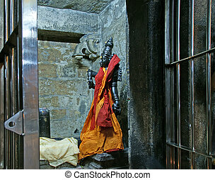 The traditional Hindu religion sculpture. Inside of...