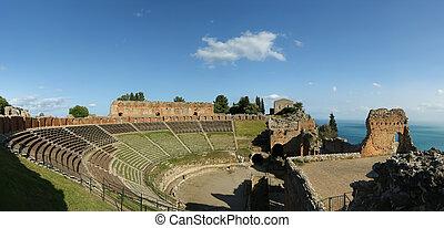 les, Ancien, théâtre, Taormina, Ancien, Grec,...