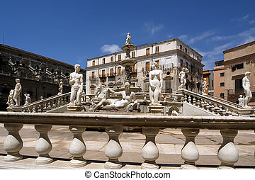 Fontana Pretoria in Palermo, Sicily is also called Fountain of shame, because of the nude figures. Originally intended for a private Florentine villa and not a public square.