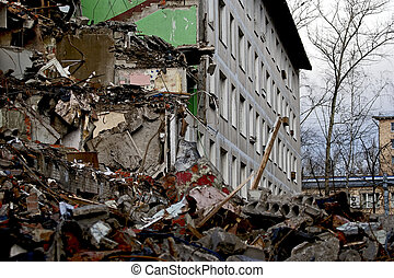 Moscow, Russia, the destruction of a dwelling house in the...