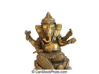Deity of Ganesha from India on white background