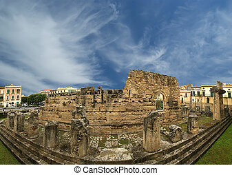 Panorama of of the ancient Greek temple of Apollo. Syracuse...