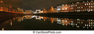 Russia, Moscow Center, night view (panorama) on the drain...