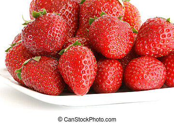 Most natural red strawberries, still life, isolated over...