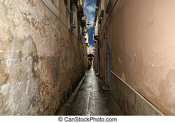 Ancient streets of Syracuse (Siracusa, Sarausa)-- historic city in Sicily, Italy