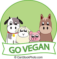 Go Vegan - Go vegan slogan with farm animals
