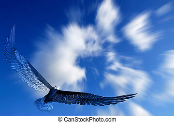 Eagle flying in the sky with white clouds