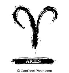Aries symbol - Zodiac sign Aries created in grunge style