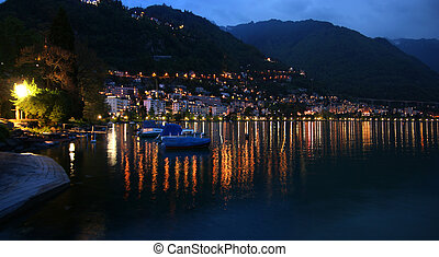 Switzerland, Montreux, a night panoramic view of Lake Geneva...