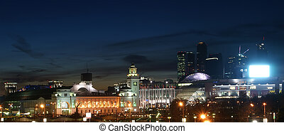 Moscow, Russia. Night. View from the embankment of the Moskva River in the Kievsky train station, international business centre