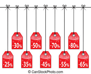 Christmas discount tags. Red glossy holiday labels. Vector...