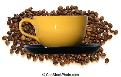 Large yellow cup and black saucer on the background of...