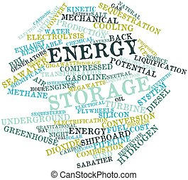 Energy storage - Abstract word cloud for Energy storage with...
