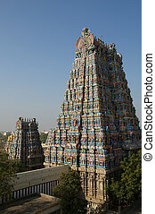 Meenakshi hindu temple in Madurai, Tamil Nadu, South India....