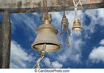 Traditional symbols of the Hindu religion - the bells. Inside of Meenakshi hindu temple in Madurai, Tamil Nadu, South India.