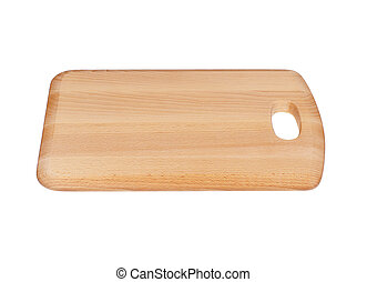 Wooden Chopping Board Block Isolated on White