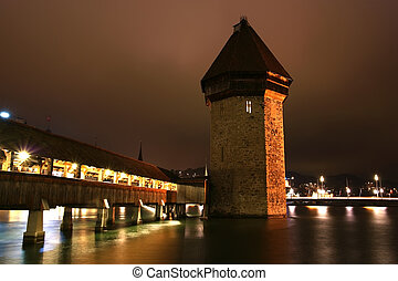 Lucerne, Switzerland, city view at night