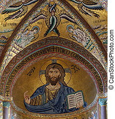 The Christ Pantokrator. Cathedral-Basilica of Cefalu, is a...