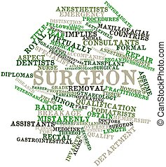 Surgeon - Abstract word cloud for Surgeon with related tags...