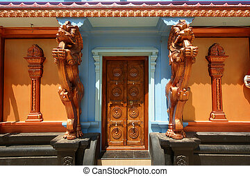 Traditional Hindu temple, gates to the temple, South India,...