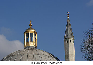 Istanbul, Turkey, the ancient Islamic minaret of the mosque