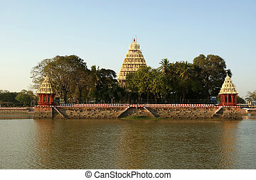 Traditional Hindu temple on lake in the city center, South...