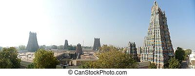 Meenakshi hindu temple in Madurai, Tamil Nadu, South India. Panorama