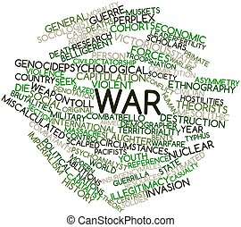 War - Abstract word cloud for War with related tags and...