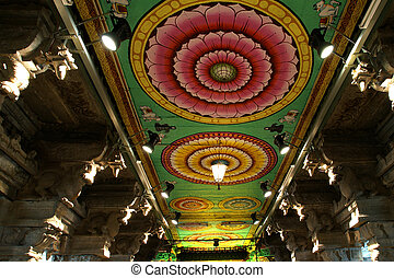 Inside of Meenakshi hindu temple in Madurai, Tamil Nadu,...