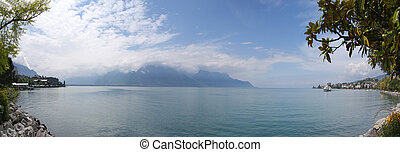 Switzerland, Montreux, panoramic view of Lake Geneva and the...