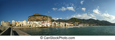 panoramic view of the Cefalu waterfront.  Sicily, Italy. Cefalu is a delicious historic and turistic town in the Palermo's area