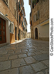 narrow street of the medieval town, Croatia, Porec