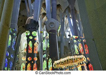 Familia, famoso, dentro, Gaudi, Barcelona, arquitecto,...