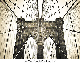 Brooklyn Bridge Bronze - Look through Brooklyn Bridge, New...