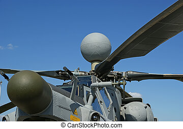 Details of the rotor current military helicopter closeup