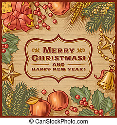 Christmas Retro Card - Christmas retro card in woodcut...