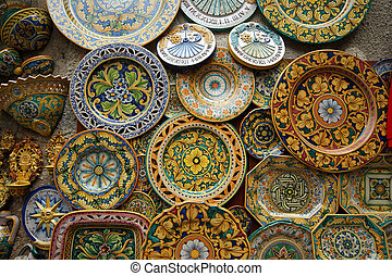 Symbol of the island of Sicily, Italy. Traditional souvenirs of ceramics