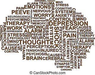 brain depression - illustration of depression text in the...
