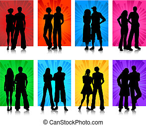 couples - Silhouettes of various couples