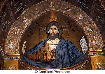 The Christ Pantokrator. Cathedral-Basilica of Monreale, is a...