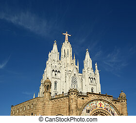 Tibidabo churchtemple, at the top of tibidabo hill,...